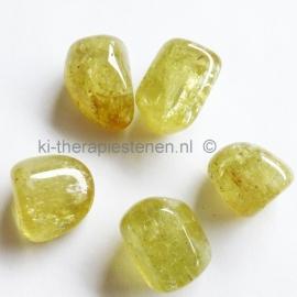 Apatiet, geel  trommelsteen (M) per st.