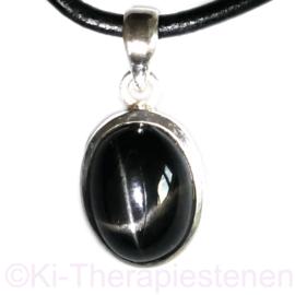Diopsiede - Ster (zwarte) hanger in 925 zilver per st.