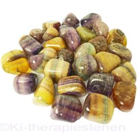 Fluoriet, geel-bont trommelsteen (L) per st.*