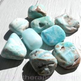 Calciet: Carribean Blue Calciet trommelsteen. (XL) per st.*
