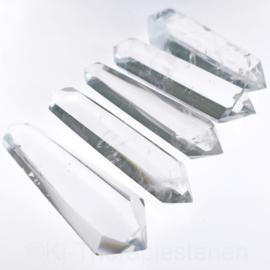 9) Dubbeleinder  Bergkristal L. 9 cm p.st.