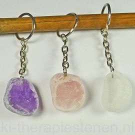 Amethist, Rozenkwarts,  Bergkristal  sleutelhanger  p.st.