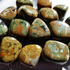 Jaspis: Regenwoud jaspis, Rhyoliet,   trommelsteen (L) p.st.*