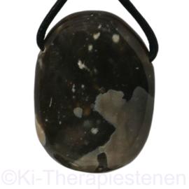 Vuursteen - Flint  (donker) hanger groot geboord pet st.