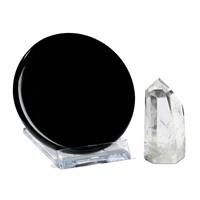 Obsidiaan spiegel ø 7-8 cm -- Meditatie-Set