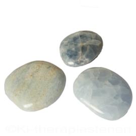 Calciet Blauw A - Q. platte steen (ovaal) Set van 3x st. 1x Uniek.