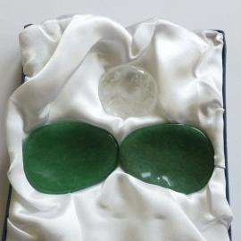 Oog edelstenenpaar Aventurijn ontspanning + 3e oog Chakra steen Bergkristal helderheid.