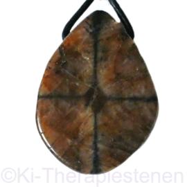 Kruissteen (Chiastoliet) edelsteen hanger Groot 1x uniek ex.