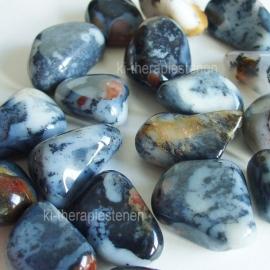 Agaat: Merliniet, (dendrieten-opaal agaat)  trommelsteen (L) per st.