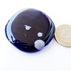 Obsidiaan, Sneeuwvlok, (meer zwart)  platte edelsteen p. st.**