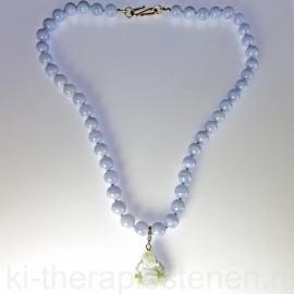 Chalcedoon Blauw,  Boeddha ketting, 46 cm 1x uniek ex.