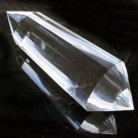 0) Dubbeleinder  Phi - Vogel kristal 24-ZIJDIG,  L. 8,7 cm, 75 gr.