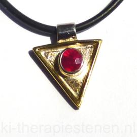 Robijn gezet Zilveren (met goud) hanger | 1x uniek ex.