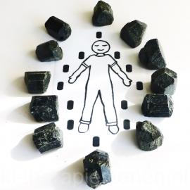 Toermalijn, zwart kristallen (L) (24 st.) legging (dubbel) Extra set  0,5 kg. ♦♦♦