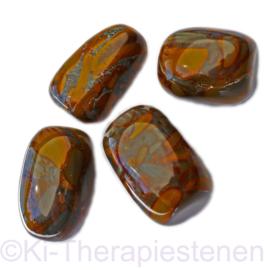 Agaat: Slangen / snake agaat Olijf trommelsteen (XL) p. st.