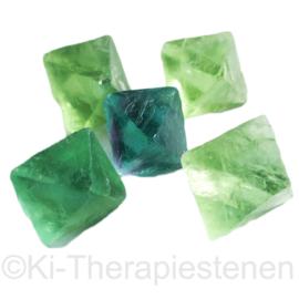 Fluoriet, groen, blauw  SET van Vijf  Fluoriet Oktaeders in zakje