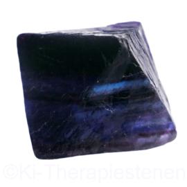 Fluoriet, regenboog Jumbo oktaeder ø 4 cm blauw 1x uniek ex.