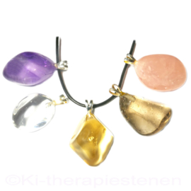 Amethist Maraba 1A, Bergkristal 1A, Citrien 1A, Rookkwarts, Rozenkwarts Kristal Set 1x Uniek.