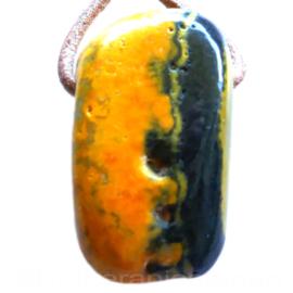 Bumble Bee Jaspis hanger Groot (Auripigment / Realgar) 1x uniek ex.