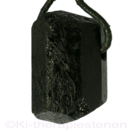 Toermalijn, zwart, (Schorl) edelsteen geboord 1x Uniek.