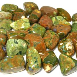 Jaspis: Regenwoud jaspis, Rhyoliet,   trommelsteen (XL) p.st.