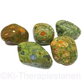 Jaspis: Regenwoud jaspis, Rhyoliet,   trommelsteen (XXL) Set v. 5 st.