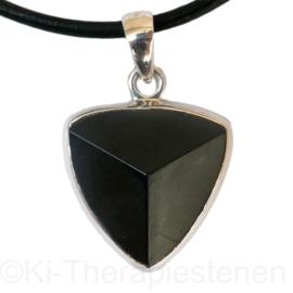 Toermalijn, zwarte  schorl + eindvlak  Zilveren hanger | per st.