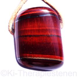 Tijgeroog rood hanger groot 1x uniek ex.