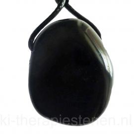 Toermalijn zwart hanger geboord per st.