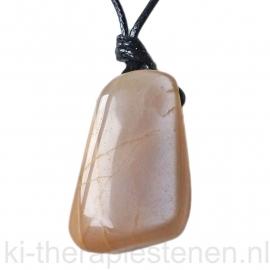 Maansteen, hanger groot  geboord 1x uniek ex.