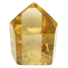 DOW Citrien Natuur AA kwaliteit kristal 166 gr.  lengte 6,5 cm- B. 5 cm.