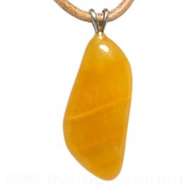 Calciet, geel oranje  edelsteen hanger 1x uniek ex.