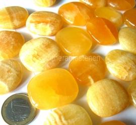 Calciet Oranje platte edelsteen (ø 3 cm),  per st. ** (5=6)