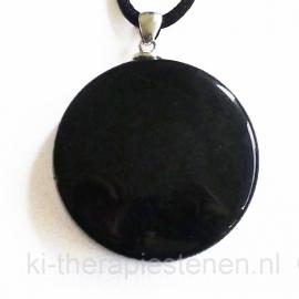 Obsidiaan-spiegel ø 4 cm, aan zilveren oog
