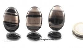 Lamellen Obsidiaan, edelsteenhanger geboord p.st.