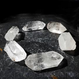 3) Dubbeleinder Bergkristal SET 6 st.  L. 3,5 - 4 cm + Katoenen zakje