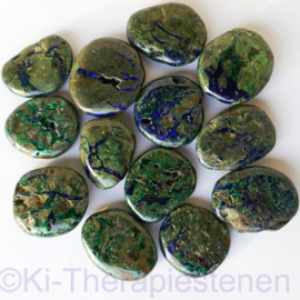 Azuriet Malachiet, (natuur) platte edelsteen per st. ø 3,5 cm ca 20-25 gr.