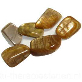 Maansteen goud trommelsteen (L) per st.
