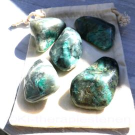 Smaragd  trommelstenen Set van 5x stuks  (Brazilië) (XL)