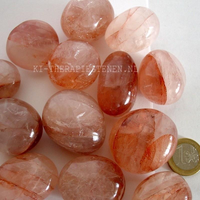 Hematoiet (bergkristal met ijzererts) kwarts TS (L)  per st.*