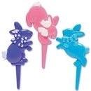 032031  Springende Paashaas Cupcake Picks 6/Pk
