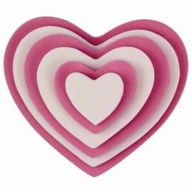 012021-7 PME Plastic cutter set Hearts 6delige set