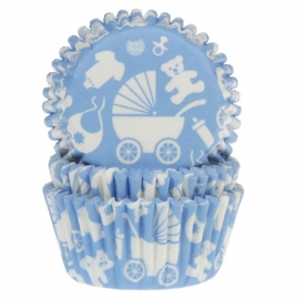 Baby blauwe NEW BORN baking cups HOUSE OF MARIE 50/ pk