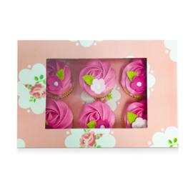 Cupcake doos voor 6 cupcakes  ROMANCE Roses met venster