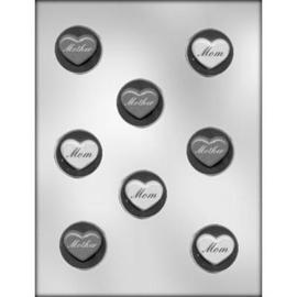 ronde plaque met hart en tekst MOTHER / MOMchocolade mal