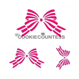 Cookie Countess Stencil met Strikjes in 3 formaten