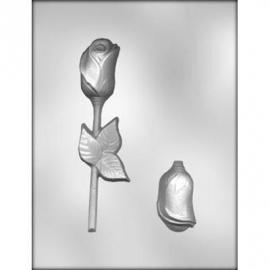 3-d chocolade mal Roos met Steel en blaadjes