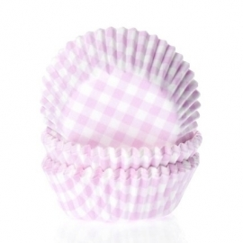Roze geruite MINI cupcake baking cups House of Marie 60/Pk