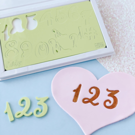 CURLY set Numbers & Symbols & opbergbox Sweet Stamp