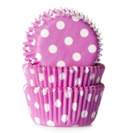 015055 House of Marie MINI Polka Dot Pink Baking Cups 60/Pk